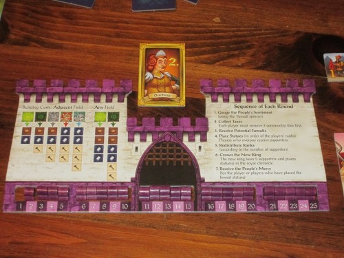 The player board is castle shaped and contains helpful information that eases play. This is a great resource.