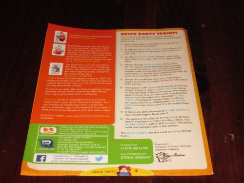 The rules for sprint mode. The entire rulebook is only four pages. Nice!