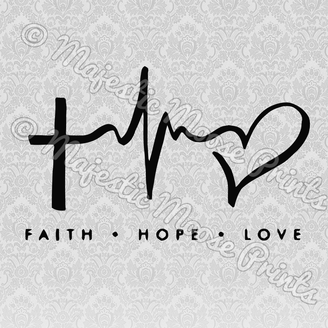 Download Faith Hope Love Heartbeat SVG - Majestic Moose Prints