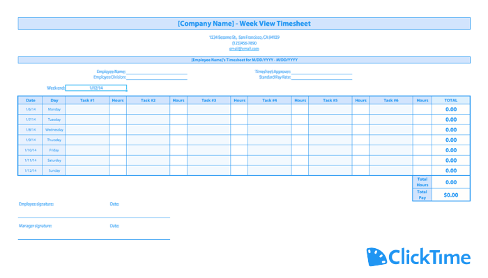 Free Timesheet Template Printable Timesheets Clicktime