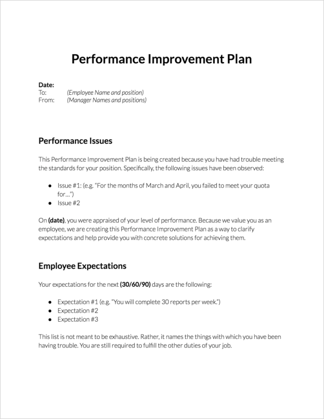 What Is The Purpose Of A Performance Improvement Plan