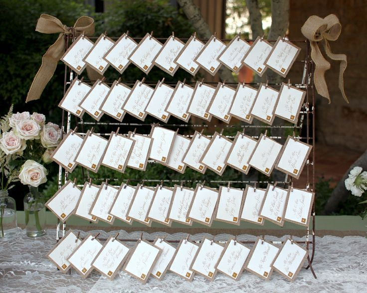 Rustic Wedding Place Card Display Ideas