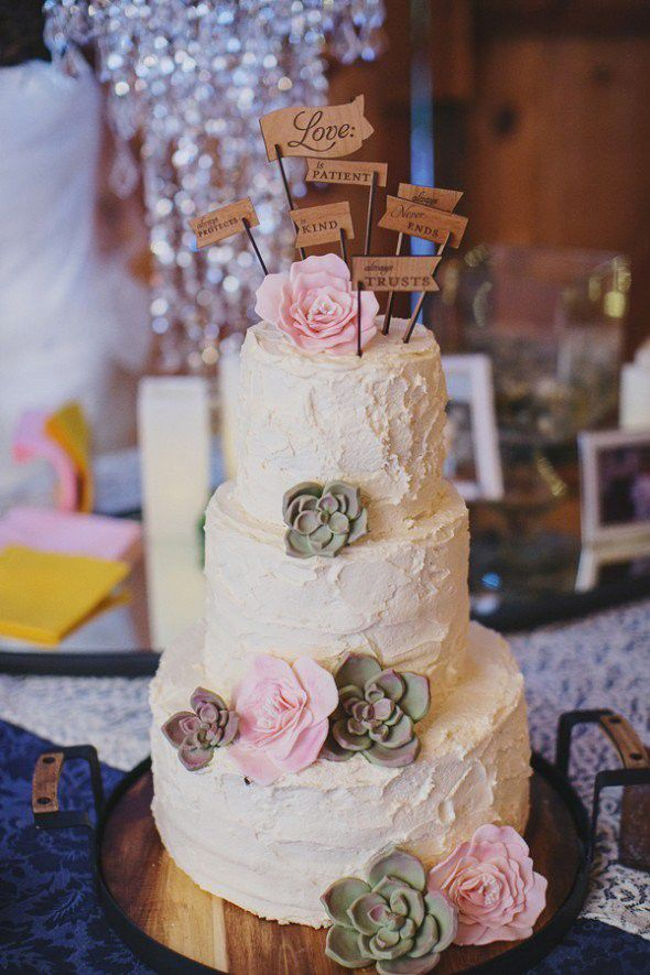 Country Wedding Cake Ideas   Rustic Wedding Chic Pink and White Wedding Cake
