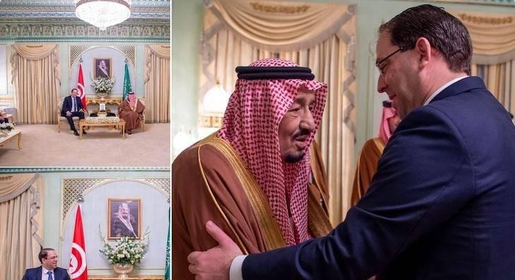 خادم الحرمين يستقبل رئيس وزراء تونس في مقر إقامته