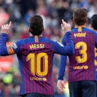 ميسي يقود برشلونة في الفوز على إسبانيول في الدوري الإسباني.