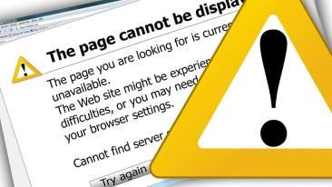 Error message on a website