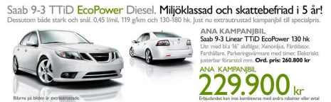 ANA Trollhättan Werbung: Saab 9-3 Clean Power Diesel
