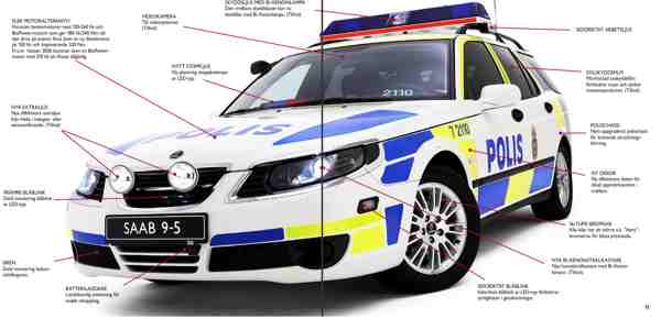 Saab 9-5 policial, exterior.
