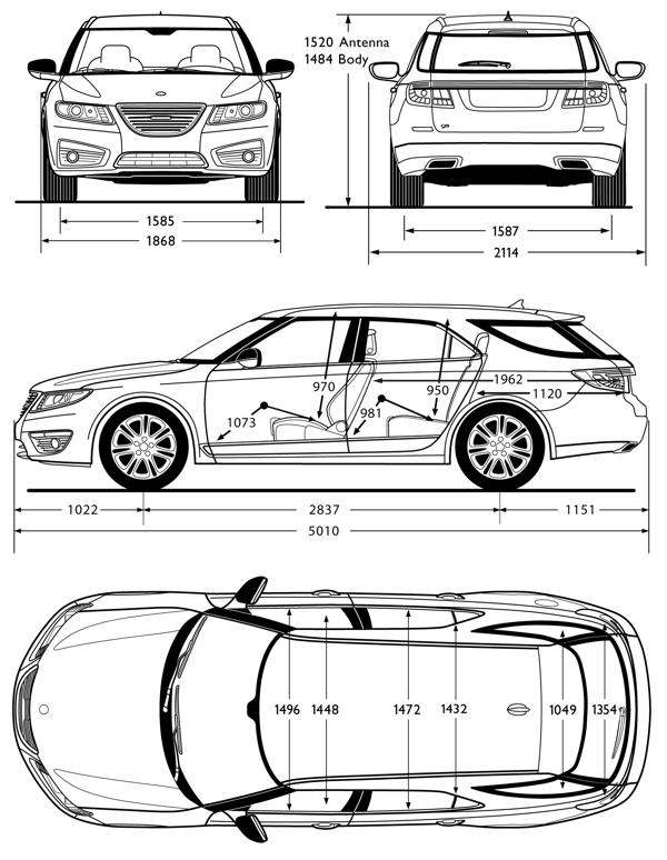 Saab 9-5 SportCombi dimensions