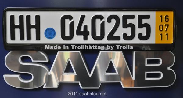 """Saab Nummernschildhalter """"Made in Trollhättan by Trolls"""""""