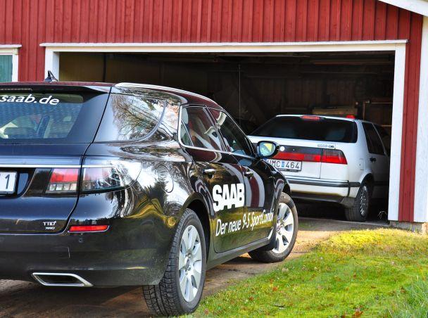 Generationentreffen Saab 9000 und Saab 9-5 Sportkombi