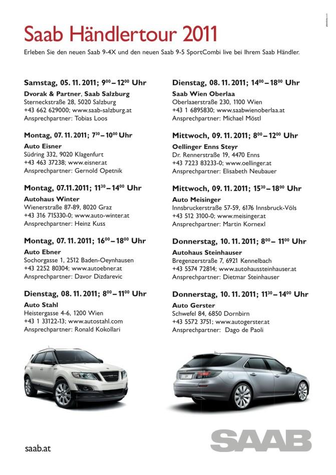 Los concesionarios Saab 9-4x y 9-5 SportCombi Saab recorren Austria 5. a 10.11