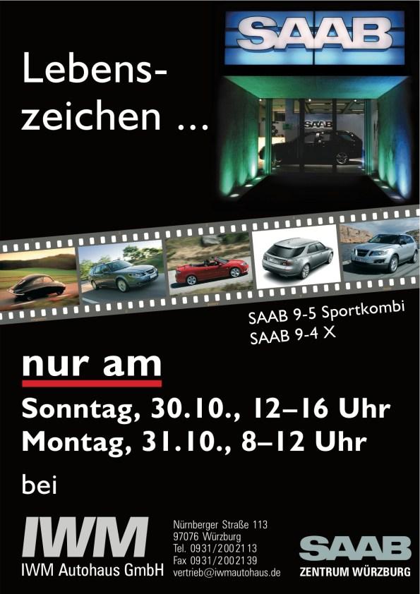 Starkt tecken: Flygblad från Saab Zentrum Würzburg