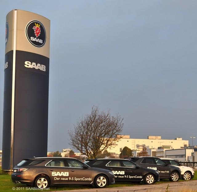 Trollhättan, Saab Werk mit den neuen Saabs