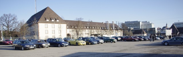 Fora Saab Metting Stuttgart, quase 100 Saabs localmente