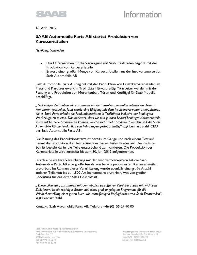 Saab Parts AB Comunicado de prensa
