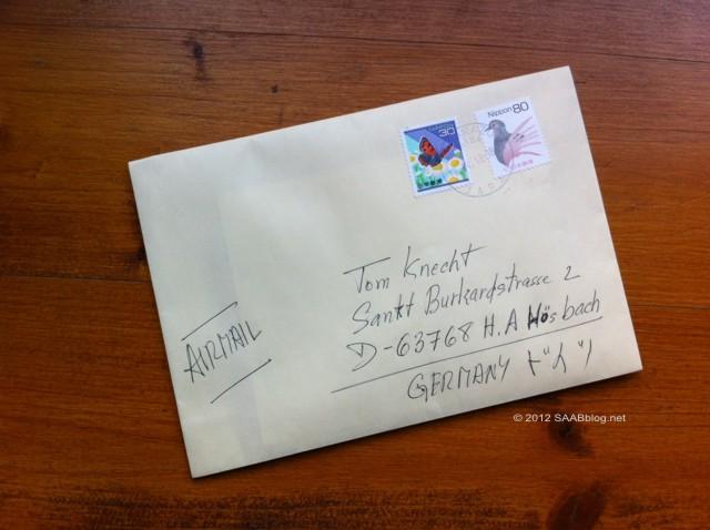 Saab Museum Spende: Brief aus Japan
