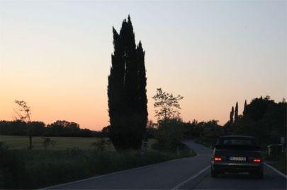 Saab 900 Abendstimmung in der Toscana. Bild von Otto