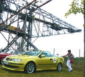 Saab 9-3 Cabrio Rallye Sachsen 2013. Mittagspause in Senftenberg. Foto von Peter.