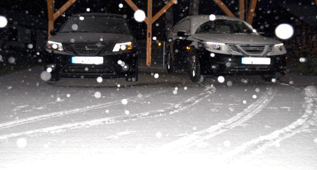 Heute Morgen. Saab Turbo X. Start bei Eis und Schnee.