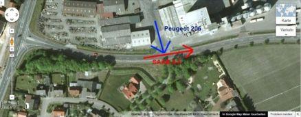 Olycksschema: Peugeot vs Saab