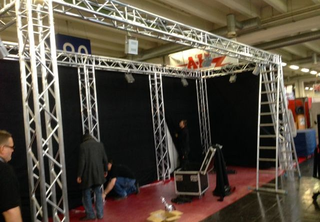 Triboron booth in construction