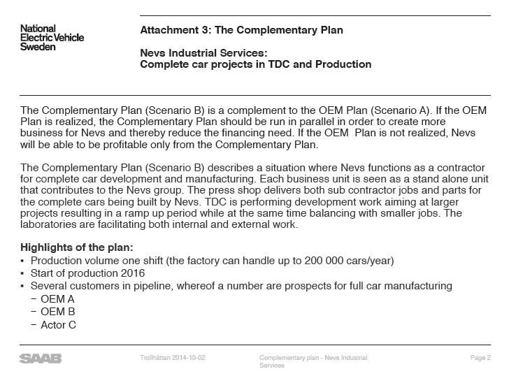 Scenario B nel piano di ricostruzione.