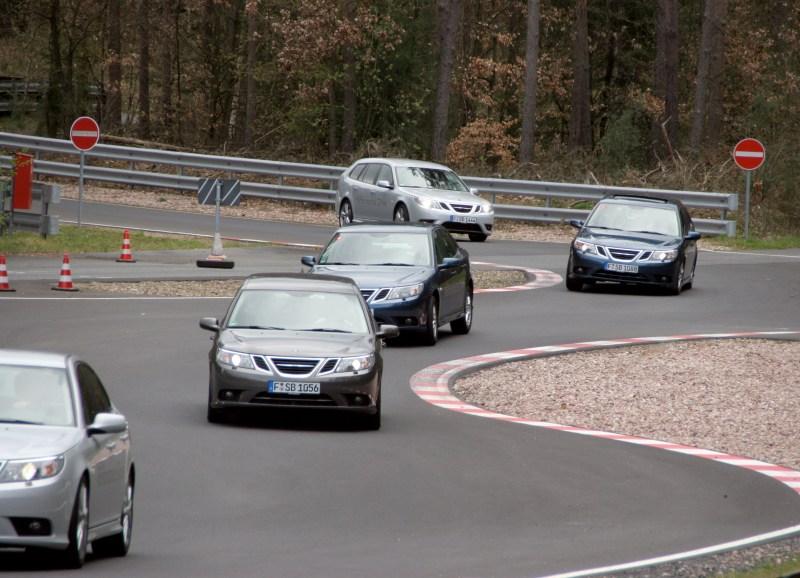 Saabs en la pista en Dudenhofen