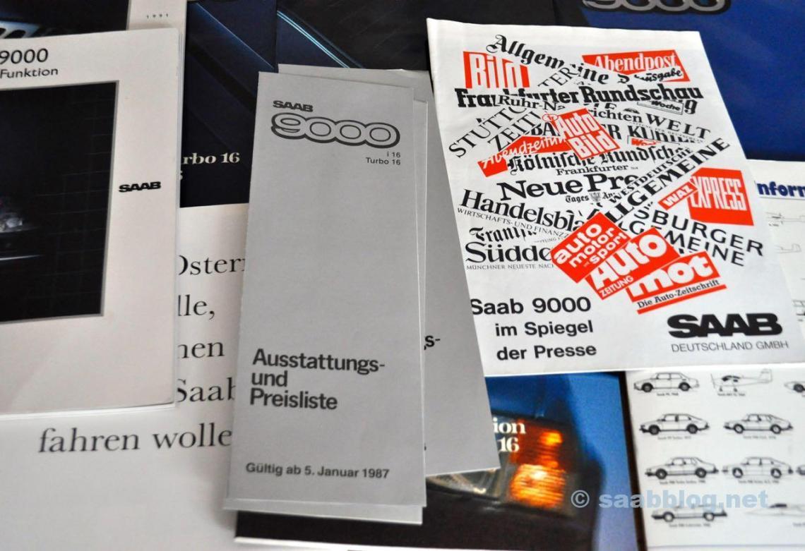 Saab 9000 Prospekte und Pressemappen
