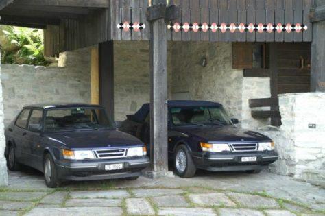 """Saab 900er Familie, die """"Blauen"""" vereint."""