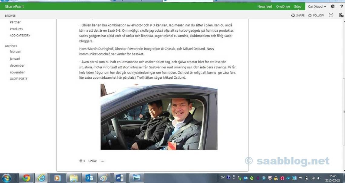 Capture d'écran d'un article sur l'intranet de NEVS couvrant notre visite