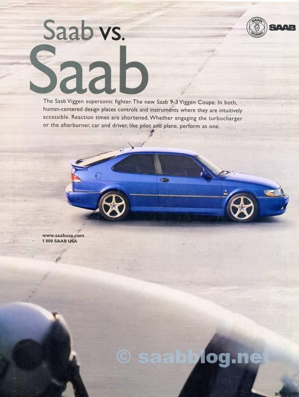 SAAB advert where the ties with the aircraft heritage were emphasized.