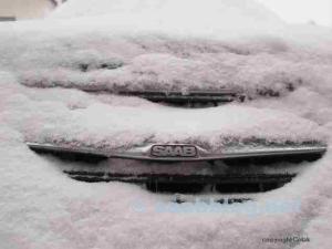Saab im Winter