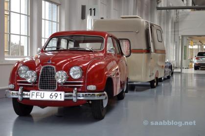 """Saabo med """"traktor"""" i Saab Bil-museet"""