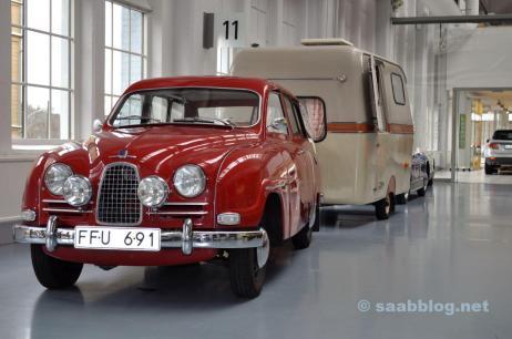 """Saabo con """"tractor"""" en el Museo Saab Bil"""