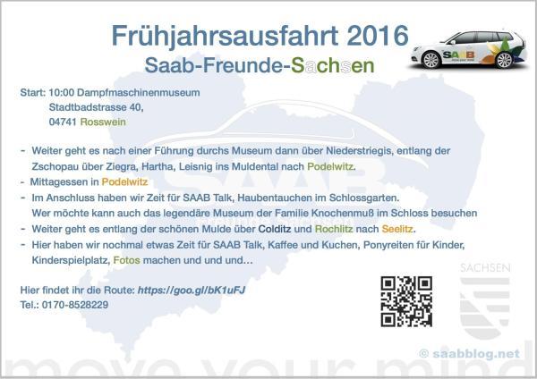 Flyer Fruehjahrsausfahrt SAAB Freunde Sachsen