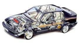 Saab 9000, segurança passiva. Imagem: Saab Automobile AB