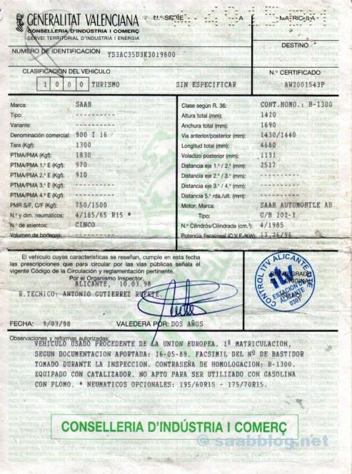 Saab 900i 1989, dokumentation