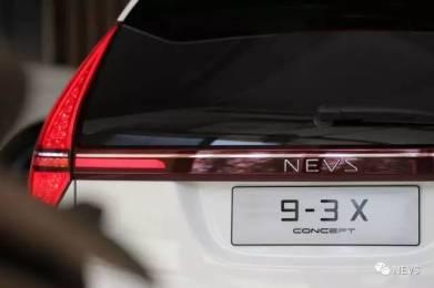 Faixa traseira traseira no carro elétrico SUV 9-3X. Imagem: NEVS