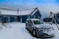 Saab 9-3 på vintern. Bild på Daniel
