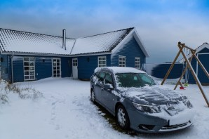 Saab 9-3 في فصل الشتاء. صورة دانيال