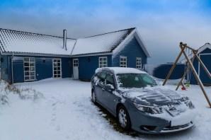 Saab 9-3 in inverno. Immagine di Daniel