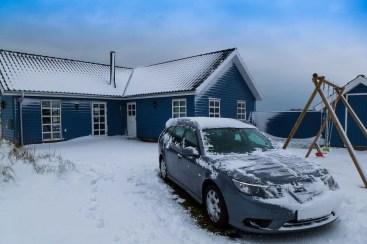 Saab 9-3 no inverno. Imagem de Daniel