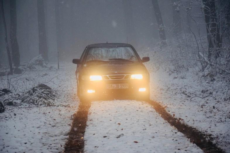 Unterwegs im Winter. Saab von Justus.