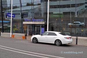 Saab in front of Volvo Museum