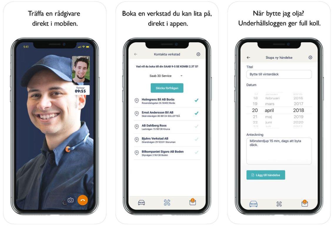 MySaabCar app från Orio
