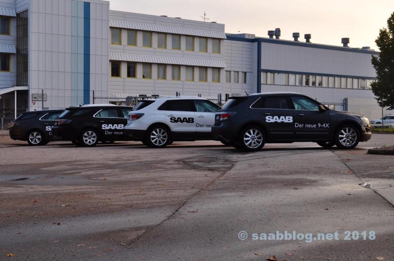 Um monte de pré-séries Saab em outubro 2011 em Trollhättan