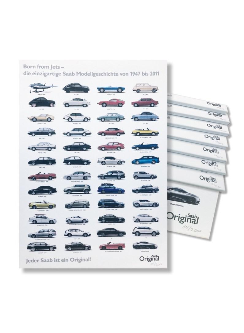 Una mercancía exclusiva de Saab. La historia de Saab como imagen de lienzo. Imagen: Orio