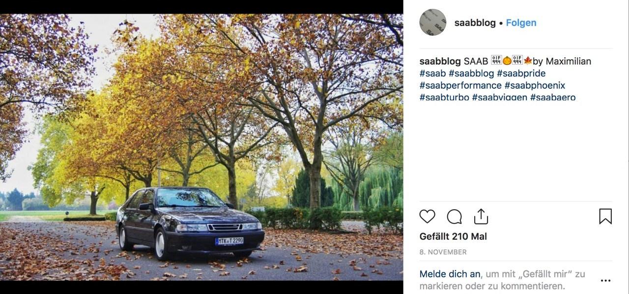 Saab Instagram image November 2018