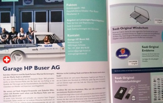 Presentation of the Saab workshops - here the Buser AG from Switzerland